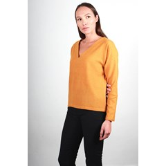 Pull moutarde en laine vierge - Edith