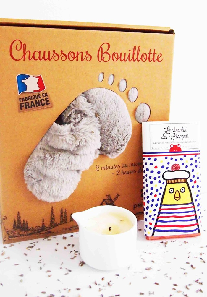 Chaussons bouillotte gris made in France 3