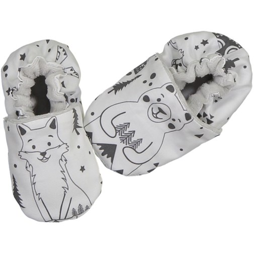 Chaussons souples - Fox and bear Noir et Blanc