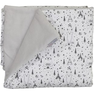 Couverture douceur - Fox and Bear Noir et Blanc