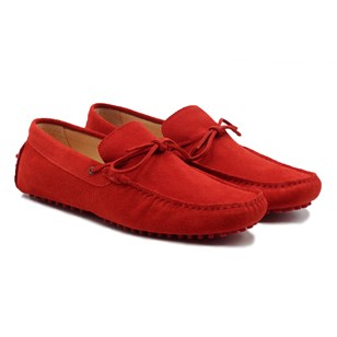 Mocassins lacets cuir daim rouge