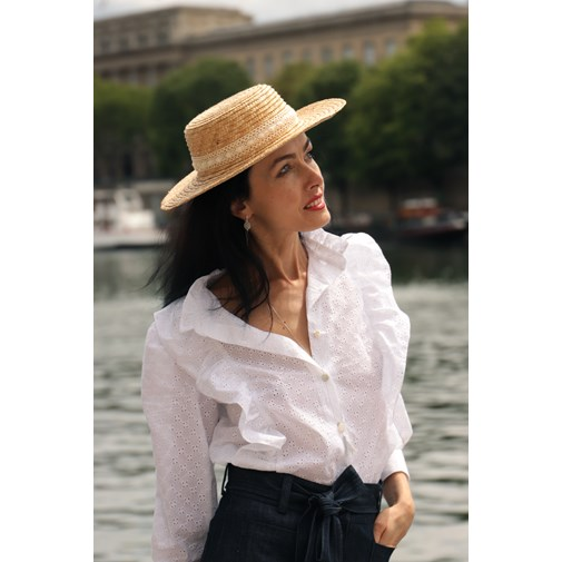 Blouse en broderie anglaise de coton upcyclée made in France