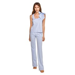 Ensemble de pyjama long noeud papillon bleu clair en coton bio