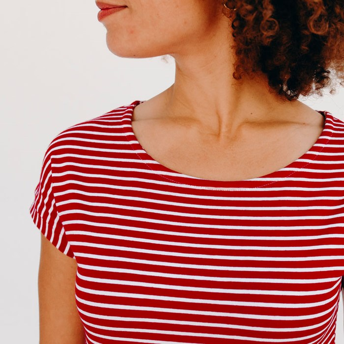 Les Hirondelles_Tee shirt femme_Upcycling_rayure rouge_Col