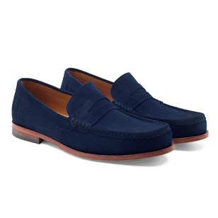 Mocassins contemporains cuir daim bleu