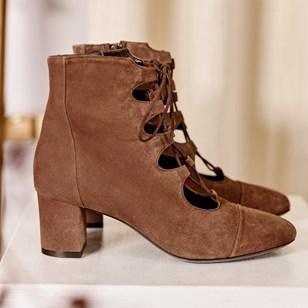 Bottines Justine Cuir Velours Cannelle