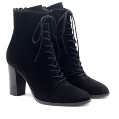 Bottines talon à lacets cuir daim noir