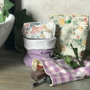 Pochette/panier multi-usages tissus upcyclés