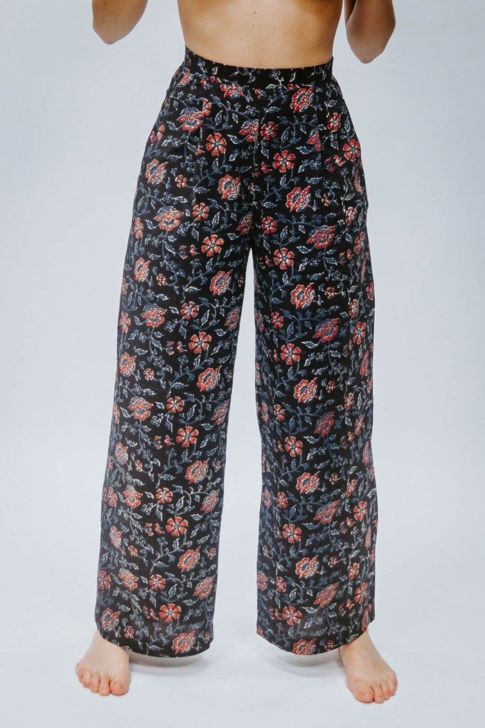 Pantalon taille haute Asian Flowers 100% coton - SAGARA 6