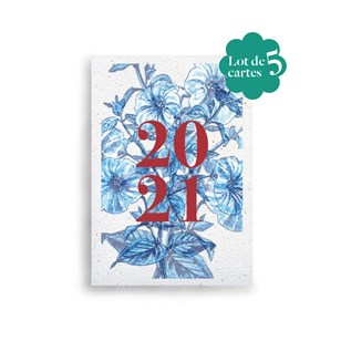 Lot de 5 cartes de vœux à planter 🎄 Bouquet de pétunias 🎄