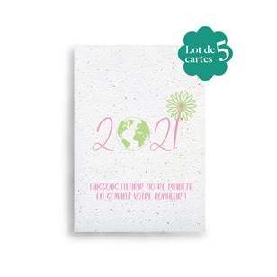 Lot de 5 cartes de vœux à planter 🌺 Green 2021 🎄