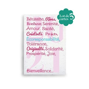 Lot de 5 cartes de vœux à planter 🌺 Mots en 2021 🎄