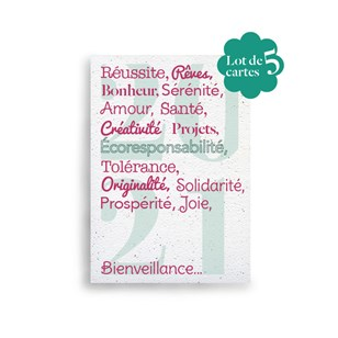 Lot de 5 cartes de vœux à planter 🌺 Pensées positives 🎄