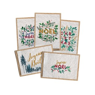 Lot de 5 cartes ensemencées - Cartes noël
