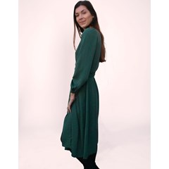 ROBE PORTEFEUILLE ZOVY MANCHES BISHOPS UNIE VERT 100% ECOVERO