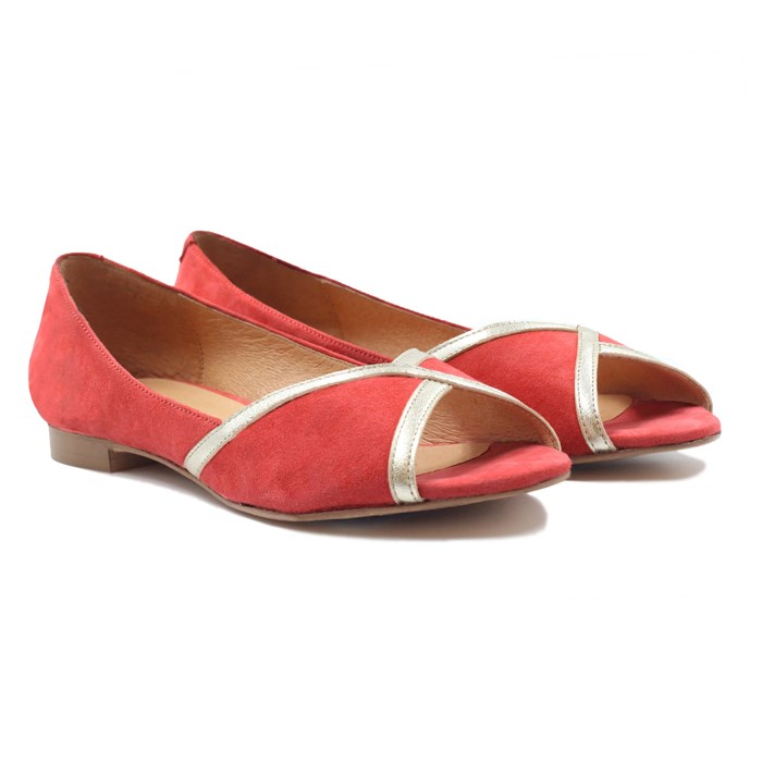 Ballerines bout ouvert cuir daim rose 2