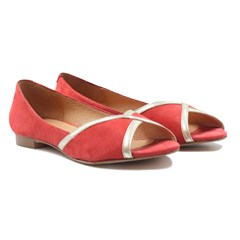 Ballerines bout ouvert cuir daim rose