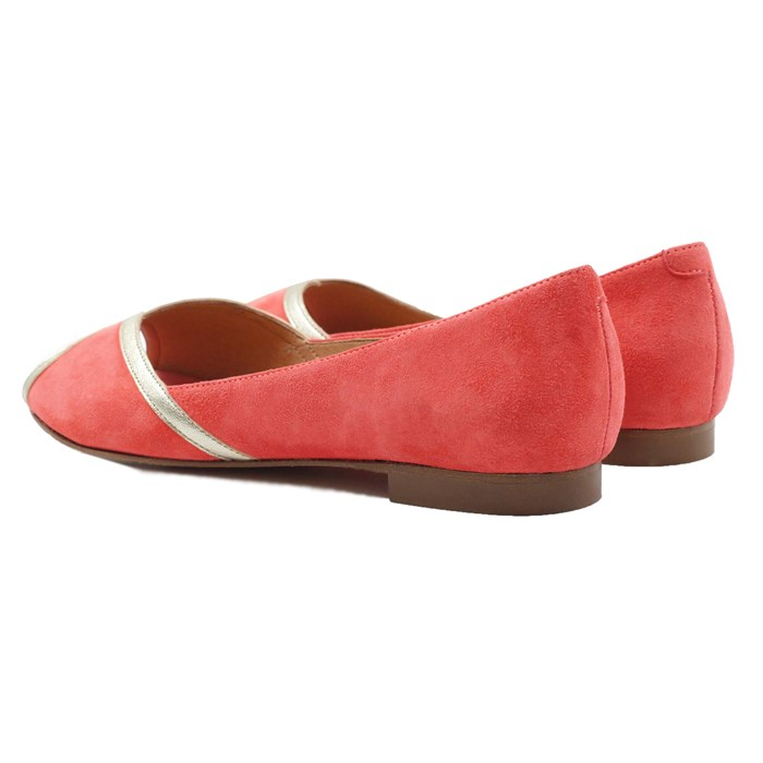 Ballerines bout ouvert cuir daim rose 3