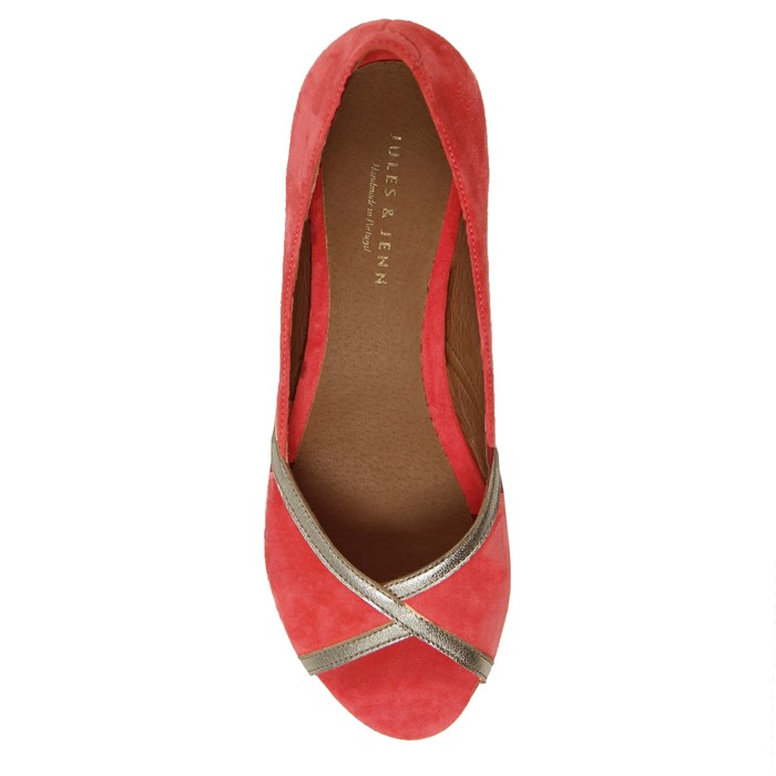 Ballerines bout ouvert cuir daim rose 4