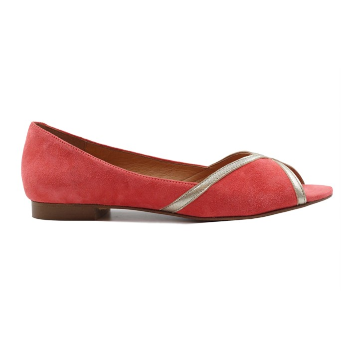 Ballerines bout ouvert cuir daim rose 5