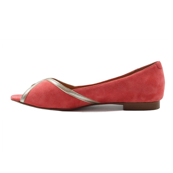 Ballerines bout ouvert cuir daim rose 6