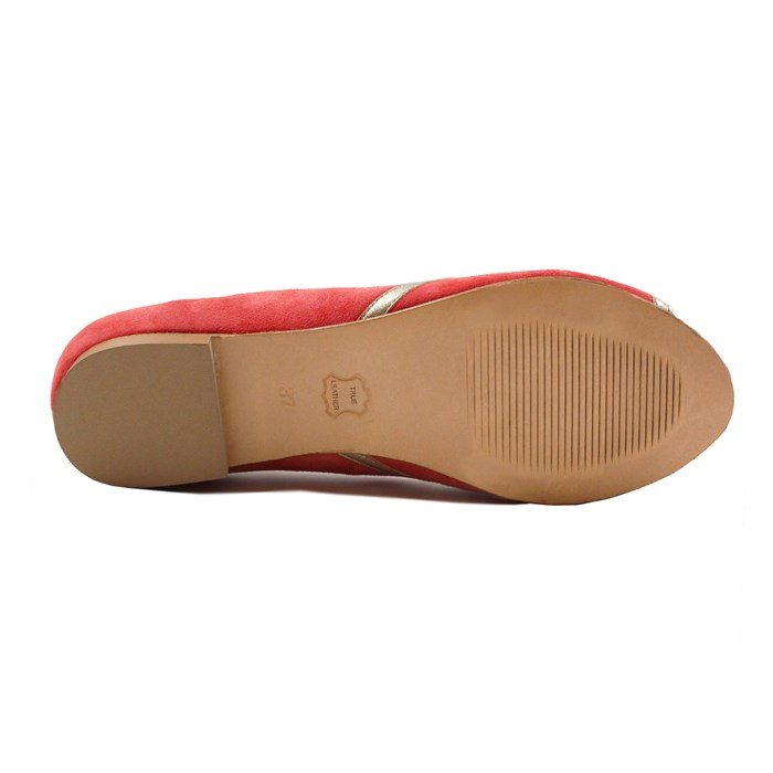 Ballerines bout ouvert cuir daim rose 7