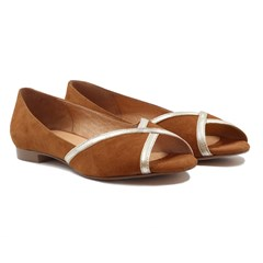 Ballerines bout ouvert cuir daim camel