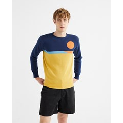 Pull col rond en coton recyclé - SUNSET de THINKING MU