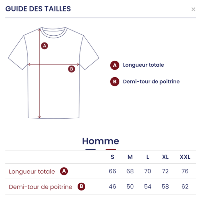 guide des tailles tshirt homme