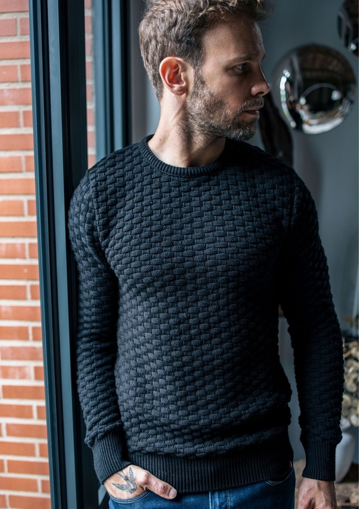 Pull DAMIER - Made in France - Coton Bio GOTS 15