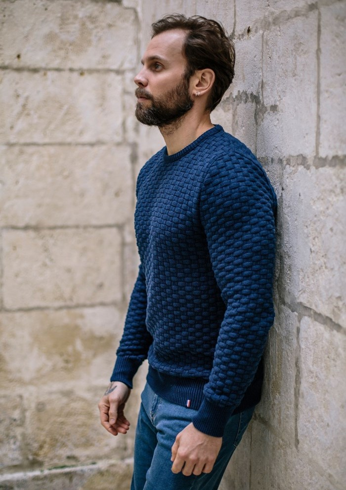 Pull DAMIER - Made in France - Coton Bio GOTS 13