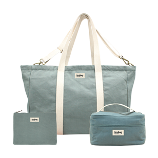 Pack Weekend - Sac cabas, vanity, pochette Sauge