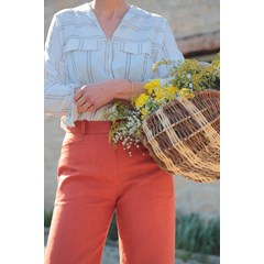 Pantalon large en lin orange - Made in France - INCOMPARABLE