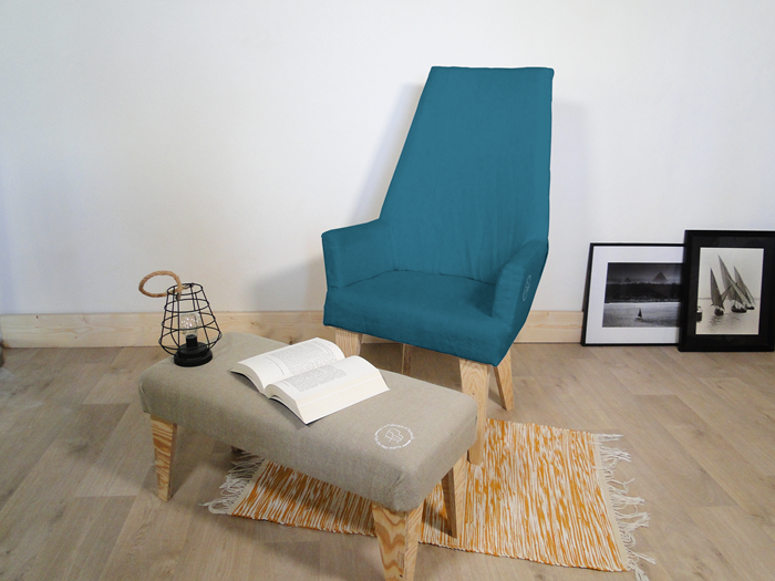 Fauteuil lin paon