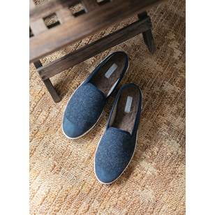 Chaussons homme en laine recyclée - Navy Marine