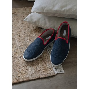 Chaussons homme en laine recyclée - Navy Red