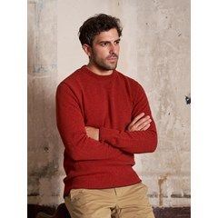Pull point de jersey en laine recyclée Made in France - Corail