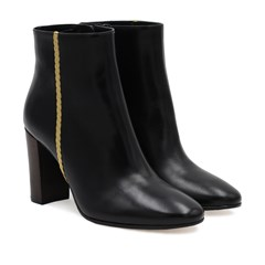 Bottines à talon en cuir noir