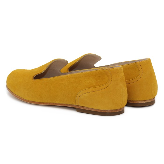 Slippers Plates Daim Jaune Moutarde 3
