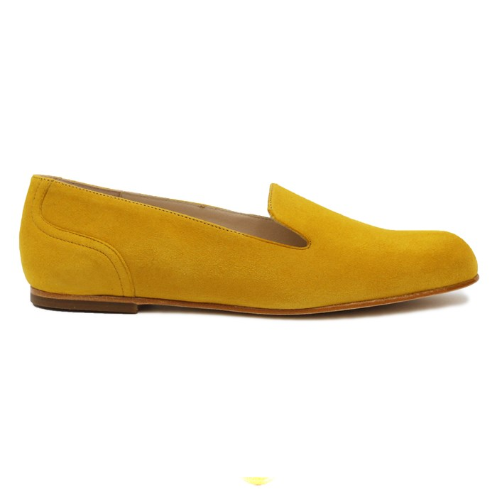 Slippers Plates Daim Jaune Moutarde 5