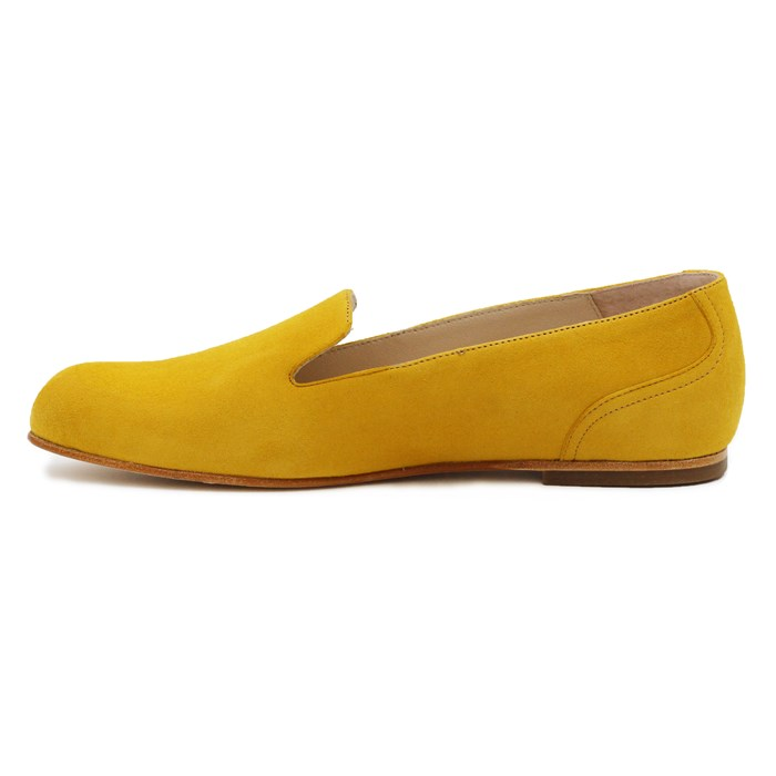 Slippers Plates Daim Jaune Moutarde 6