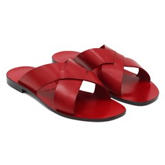 Mules Plates Cuir Rouge