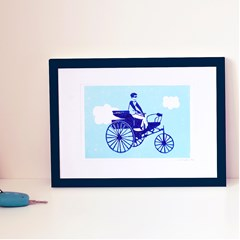 """Illustration """"Tricycle"""" - Linogravure A5"""