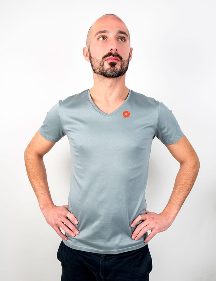 T-shirt gris col V Coton - made in France 2