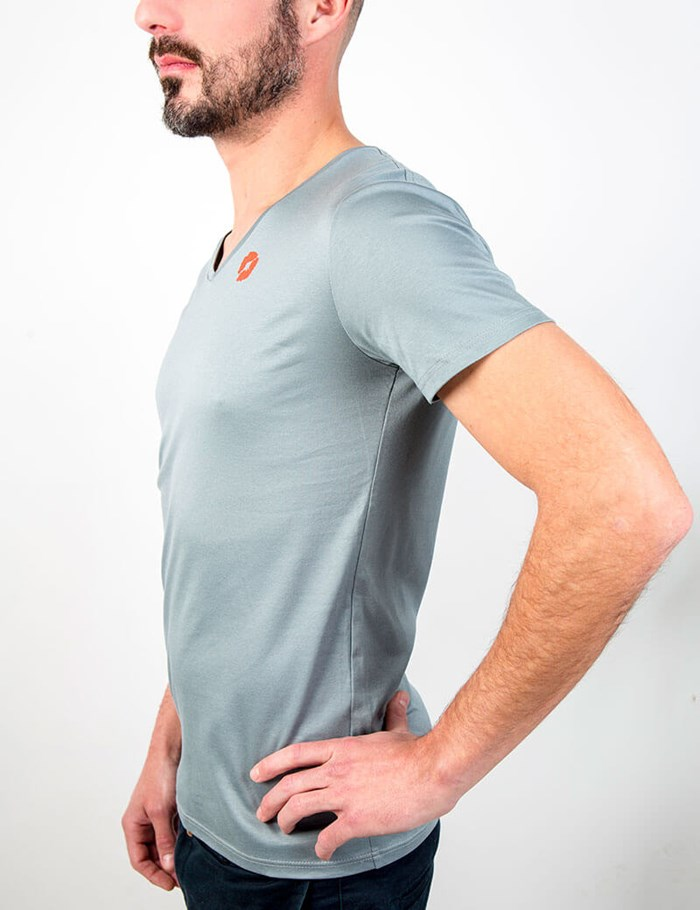 T-shirt gris col V Coton - made in France 5
