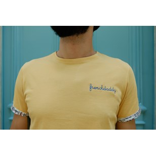 T-shirt ocre broderie Frenchdaddy - Coton bio - Made in France