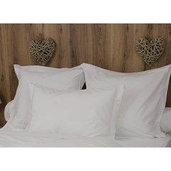 Lot de 2 taies d'oreillers coton percale 200 fils - DESIREE - Blanc