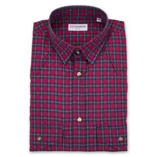 Chemise homme casual boutons pression - Greenwich bleu rouge